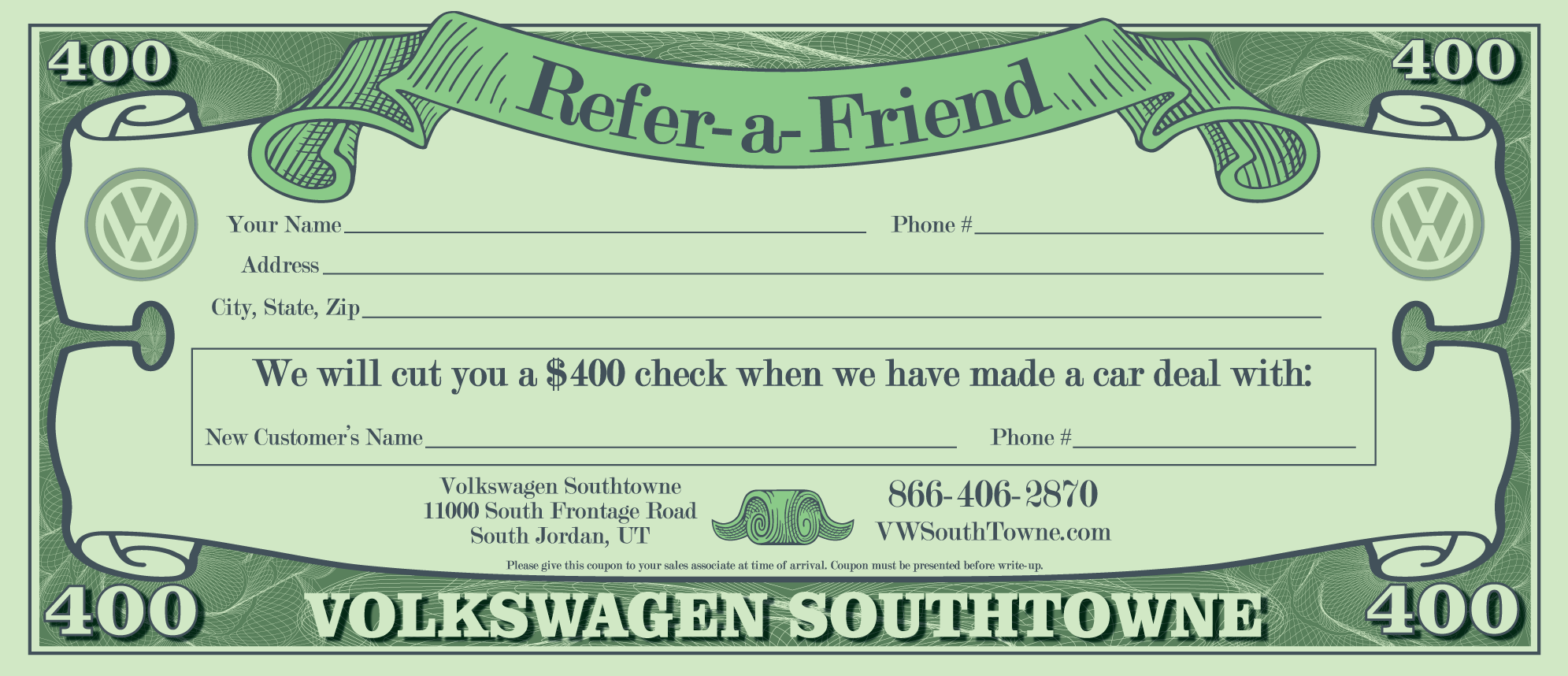 Earn $400 When You Refer-a-Friend | Volkswagen SouthTowne