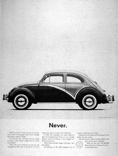 VW Came Out With Print Advertisements That Had A Lot Of White Space, A  Smaller Image, And A Uniquely Short Headline. Two Of The Most Famous  Headlines Are U201c ...